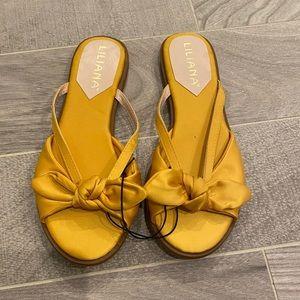 Women's yellow satin sandals